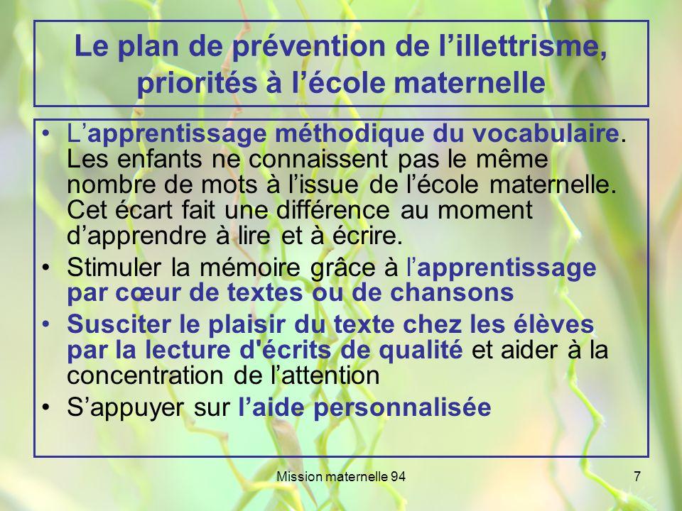 Mission maternelle 947 Le plan de prévention de lillettrisme, priorités à lécole maternelle Lapprentissage méthodique du vocabulaire. Les enfants ne c