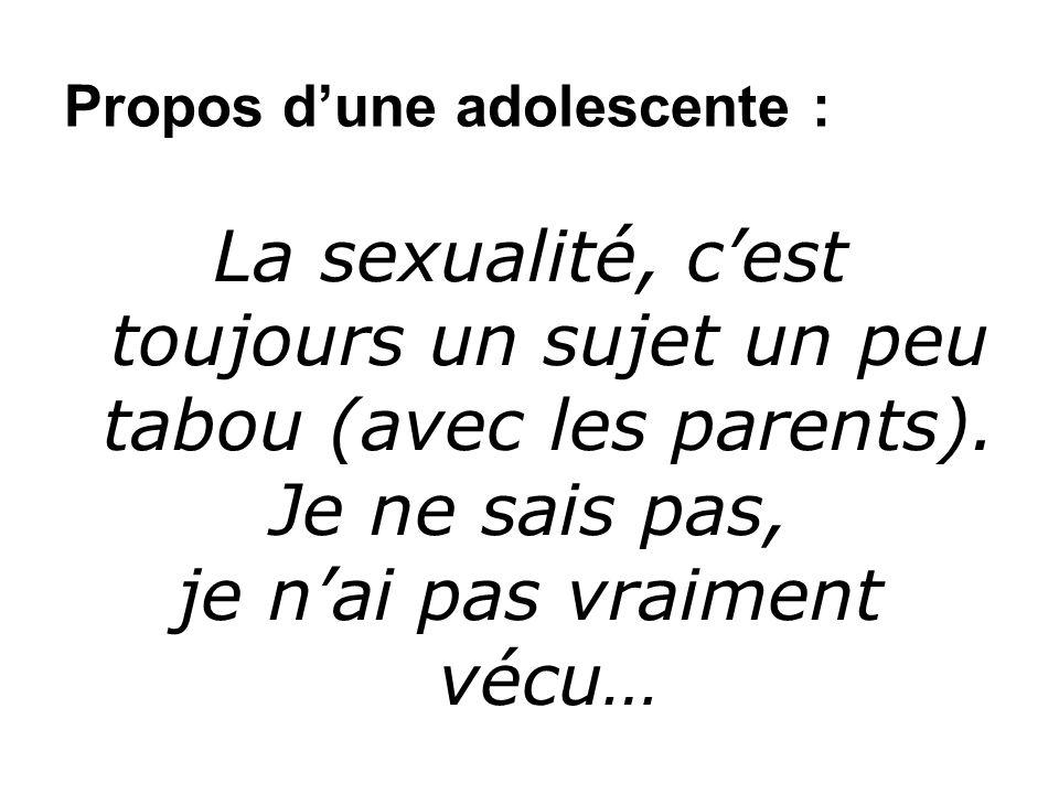 Propos dune adolescente : La sexualité, cest toujours un sujet un peu tabou (avec les parents).