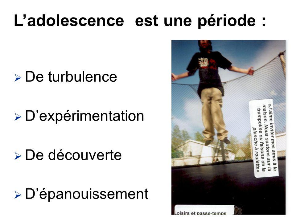 De turbulence Dexpérimentation De découverte Dépanouissement Ladolescence est une période :