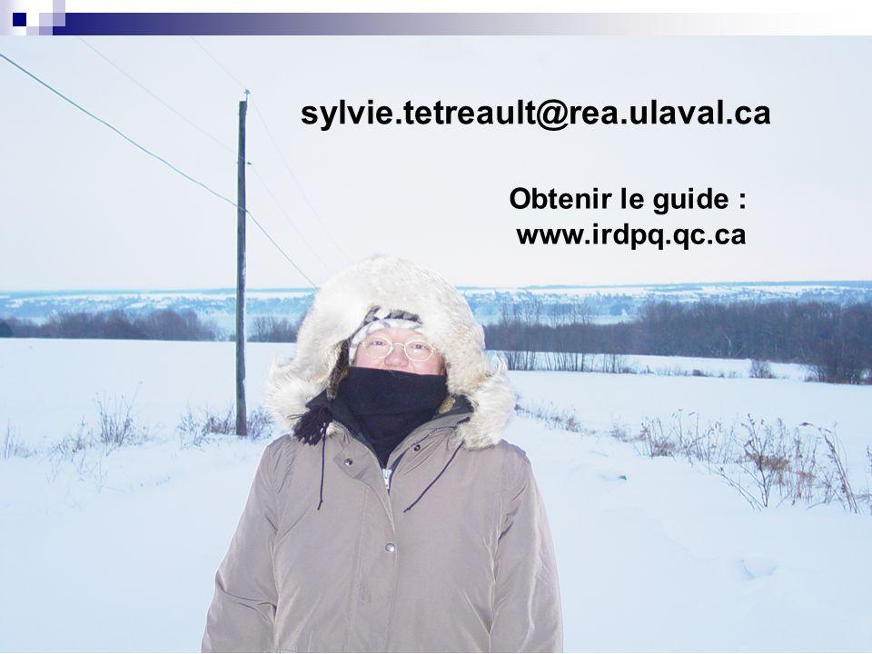 85 sylvie.tetreault@rea.ulaval.ca Obtenir le guide : www.irdpq.qc.ca