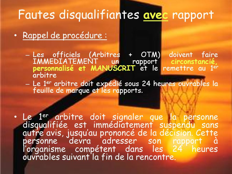 Fautes disqualifiantes Attention .