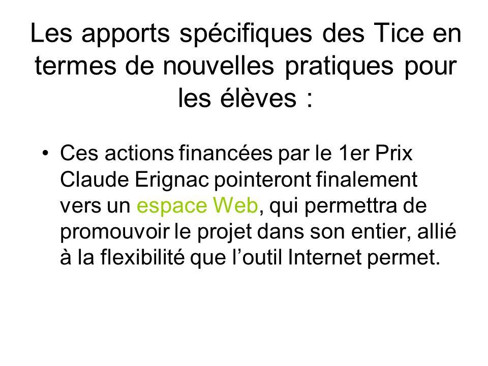 Les apports spécifiques des Tice en termes de nouvelles pratiques pour les élèves : Ces actions financées par le 1er Prix Claude Erignac pointeront finalement vers un espace Web, qui permettra de promouvoir le projet dans son entier, allié à la flexibilité que loutil Internet permet.