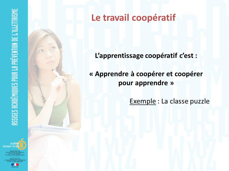 Le travail coopératif Lapprentissage coopératif cest : « Apprendre à coopérer et coopérer pour apprendre » Exemple : La classe puzzle
