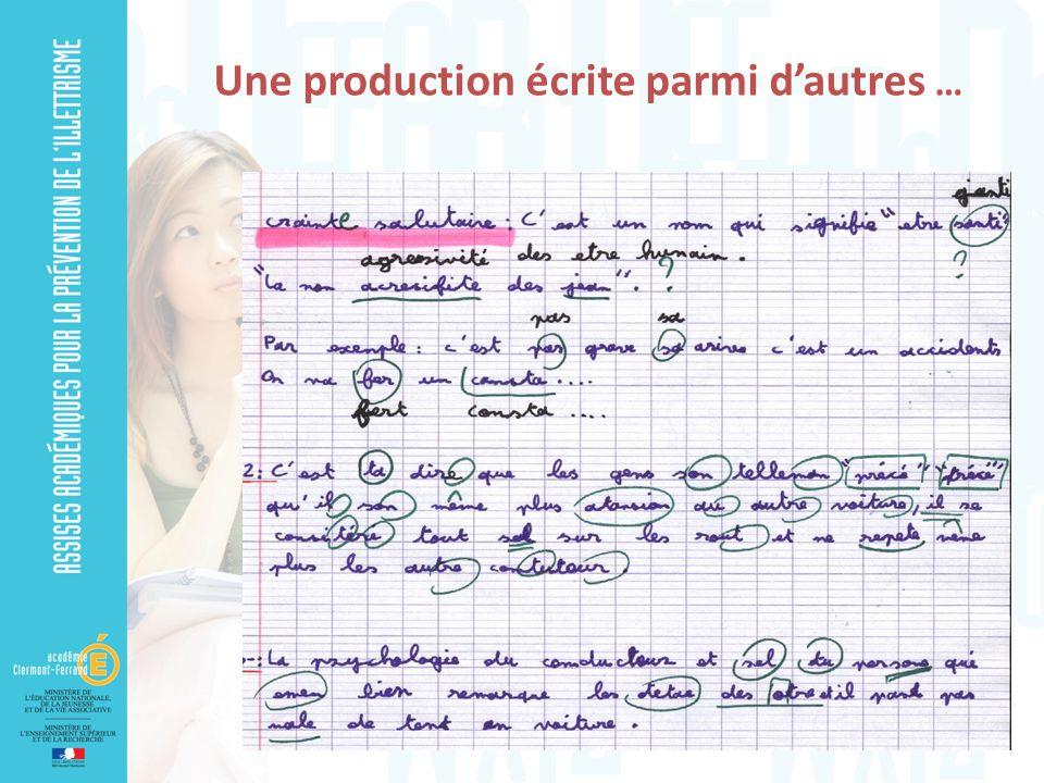 Une production écrite parmi dautres …