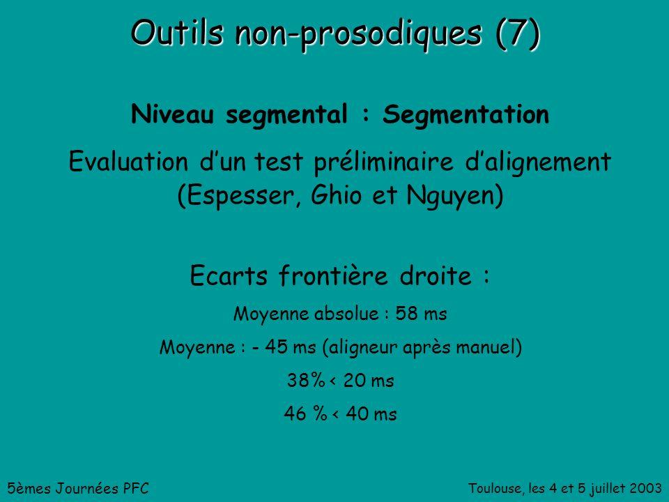 Toulouse, les 4 et 5 juillet 2003 Outils non-prosodiques (7) Niveau segmental : Segmentation Evaluation dun test préliminaire dalignement (Espesser, Ghio et Nguyen) 5èmes Journées PFC Ecarts frontière droite : Moyenne absolue : 58 ms Moyenne : - 45 ms (aligneur après manuel) 38% < 20 ms 46 % < 40 ms