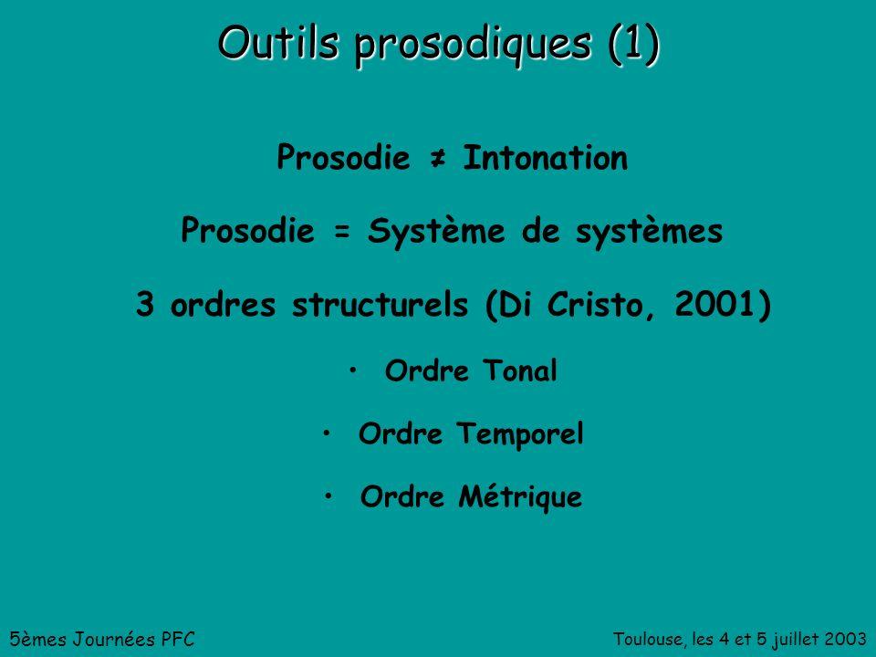 Toulouse, les 4 et 5 juillet 2003 Outils prosodiques (1) Prosodie Intonation Prosodie = Système de systèmes 3 ordres structurels (Di Cristo, 2001) Ordre Tonal Ordre Temporel Ordre Métrique 5èmes Journées PFC