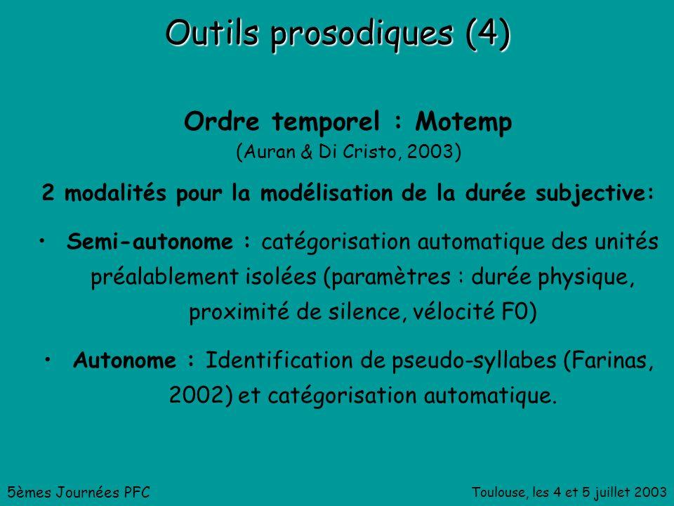 Toulouse, les 4 et 5 juillet 2003 Outils prosodiques (4) Ordre temporel : Motemp (Auran & Di Cristo, 2003) 2 modalités pour la modélisation de la durée subjective: Semi-autonome : catégorisation automatique des unités préalablement isolées (paramètres : durée physique, proximité de silence, vélocité F0) Autonome : Identification de pseudo-syllabes (Farinas, 2002) et catégorisation automatique.