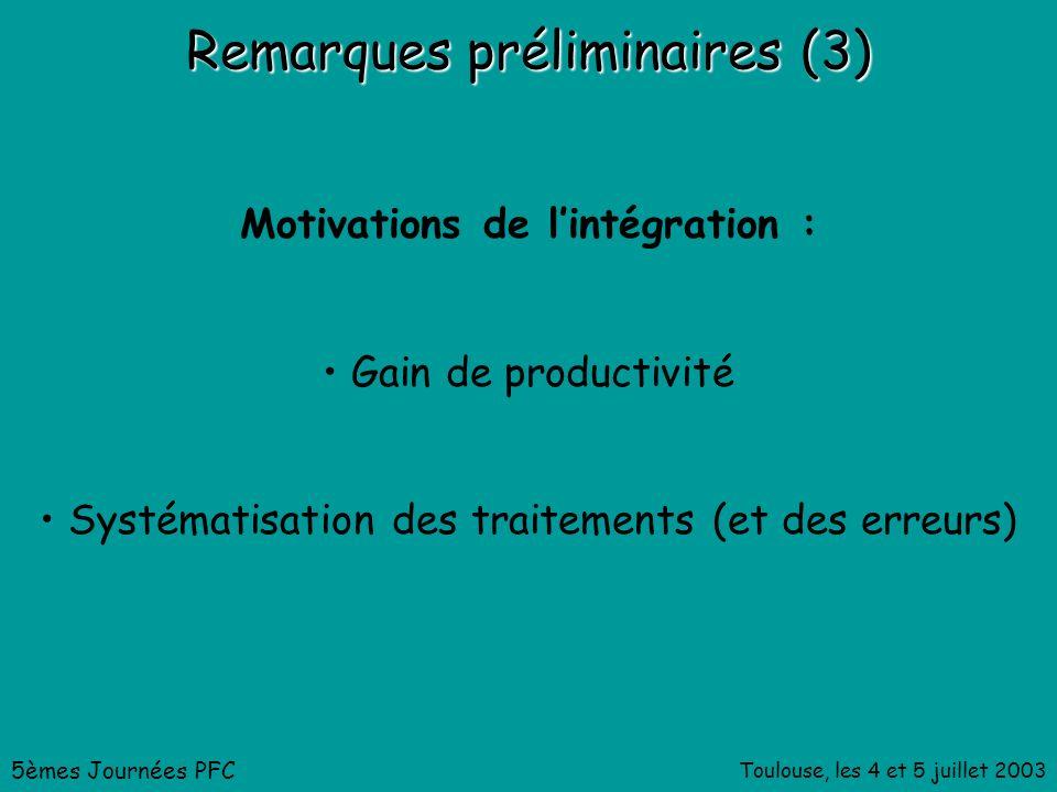 Toulouse, les 4 et 5 juillet 2003 Remarques préliminaires (3) Motivations de lintégration : Gain de productivité Systématisation des traitements (et des erreurs) 5èmes Journées PFC