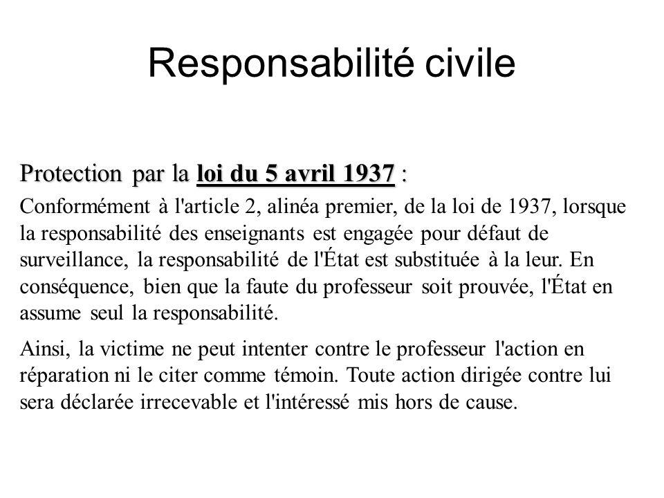Responsabilité civile Protection par la loi du 5 avril 1937 : Conformément à l'article 2, alinéa premier, de la loi de 1937, lorsque la responsabilité