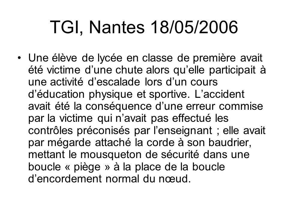 TGI, Nantes 18/05/2006 Une élève de lycée en classe de première avait été victime dune chute alors quelle participait à une activité descalade lors du