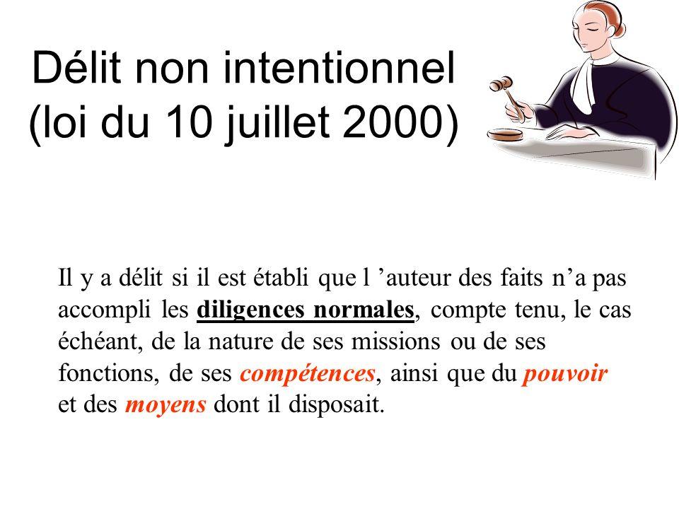 Délit non intentionnel (loi du 10 juillet 2000) Il y a délit si il est établi que l auteur des faits na pas accompli les diligences normales, compte t