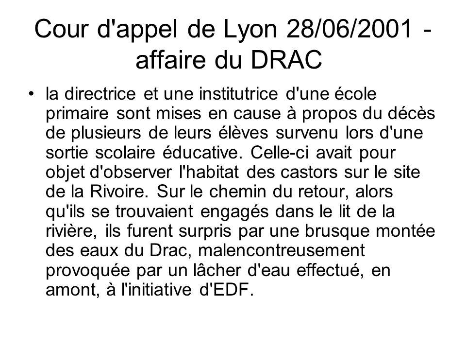 Cour d'appel de Lyon 28/06/2001 - affaire du DRAC la directrice et une institutrice d'une école primaire sont mises en cause à propos du décès de plus