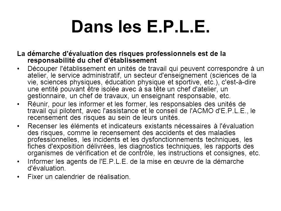Dans les E.P.L.E. La démarche d'évaluation des risques professionnels est de la responsabilité du chef d'établissement Découper l'établissement en uni