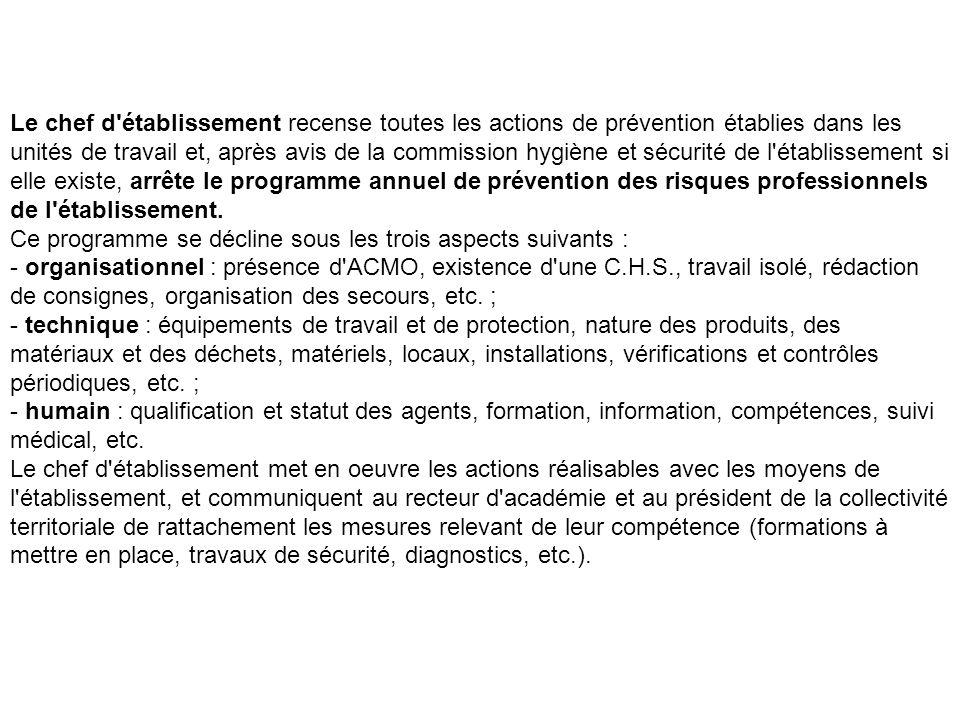 Le chef d'établissement recense toutes les actions de prévention établies dans les unités de travail et, après avis de la commission hygiène et sécuri