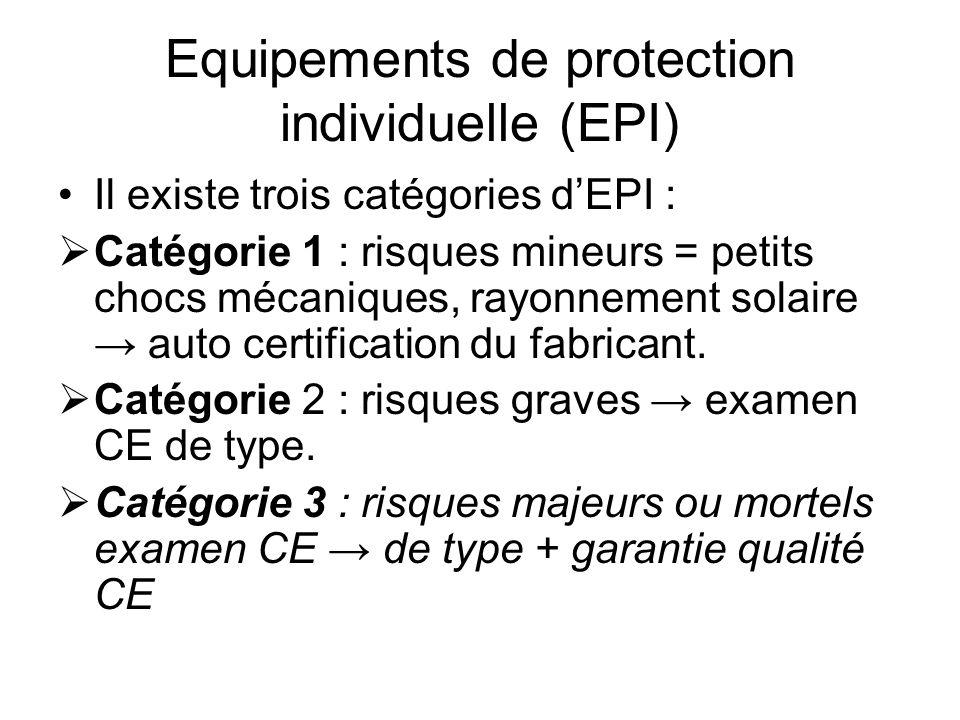 Equipements de protection individuelle (EPI) Il existe trois catégories dEPI : Catégorie 1 : risques mineurs = petits chocs mécaniques, rayonnement so
