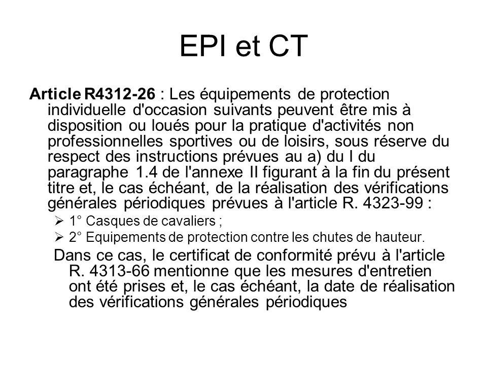 EPI et CT Article R4312-26 : Les équipements de protection individuelle d'occasion suivants peuvent être mis à disposition ou loués pour la pratique d