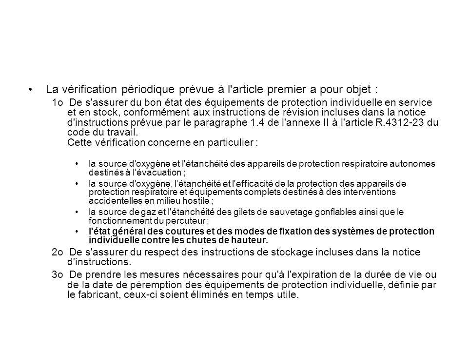 La vérification périodique prévue à l'article premier a pour objet : 1o De s'assurer du bon état des équipements de protection individuelle en service