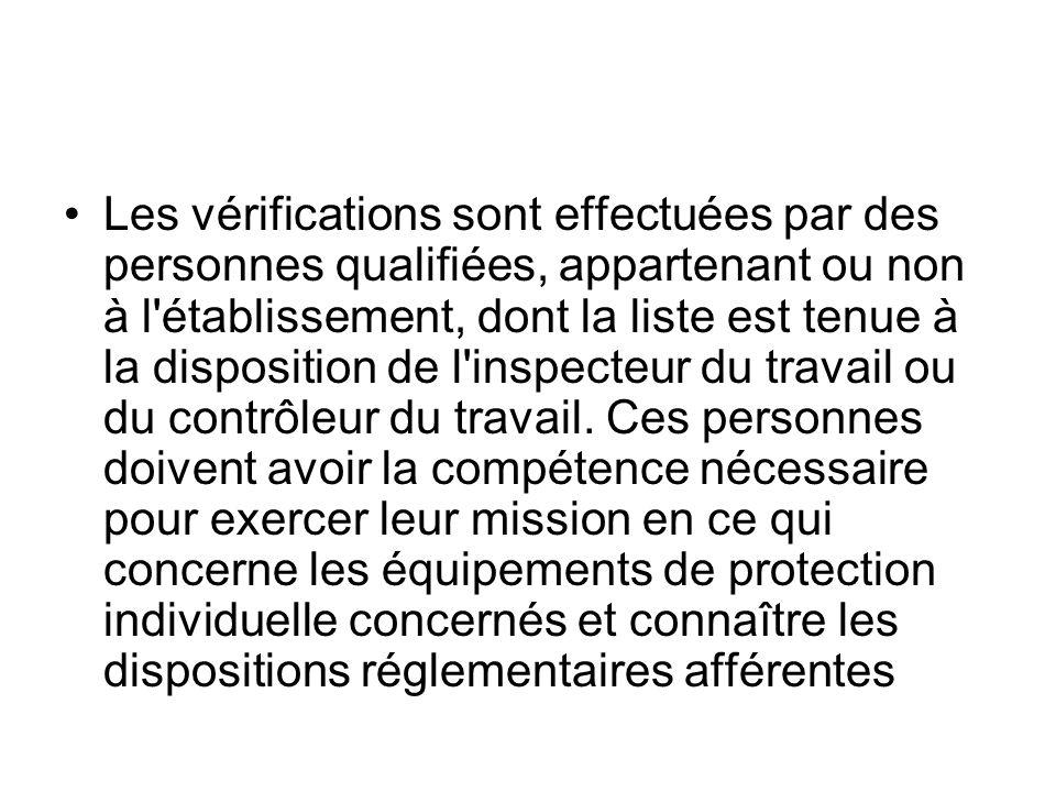 Les vérifications sont effectuées par des personnes qualifiées, appartenant ou non à l'établissement, dont la liste est tenue à la disposition de l'in