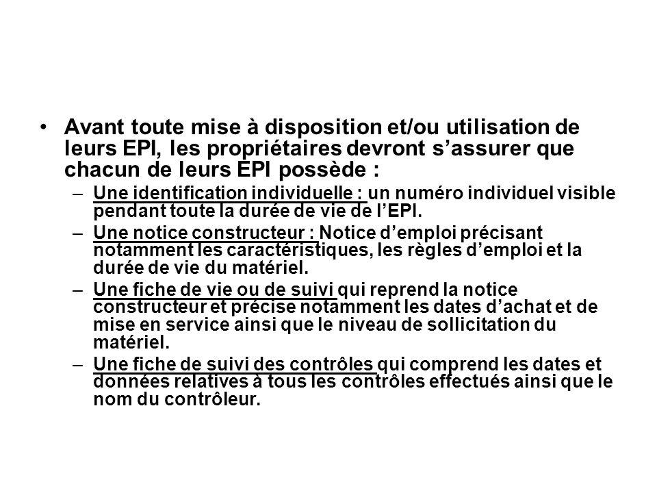 Avant toute mise à disposition et/ou utilisation de leurs EPI, les propriétaires devront sassurer que chacun de leurs EPI possède : –Une identificatio