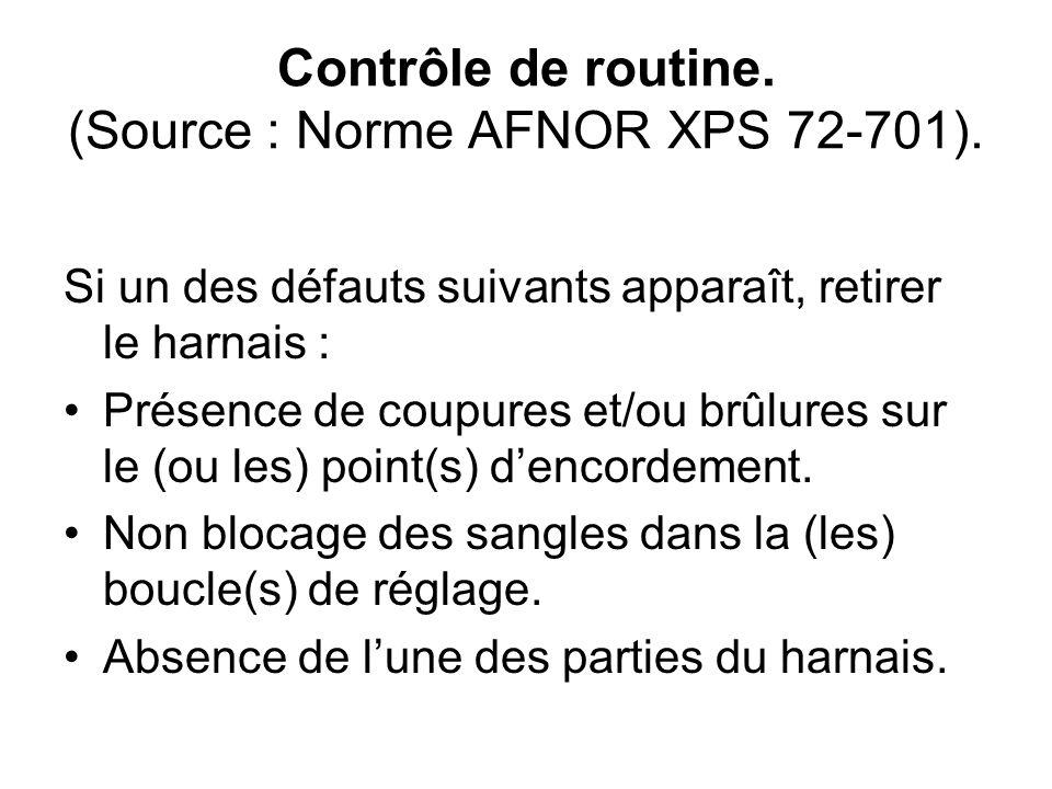 Contrôle de routine. (Source : Norme AFNOR XPS 72-701). Si un des défauts suivants apparaît, retirer le harnais : Présence de coupures et/ou brûlures