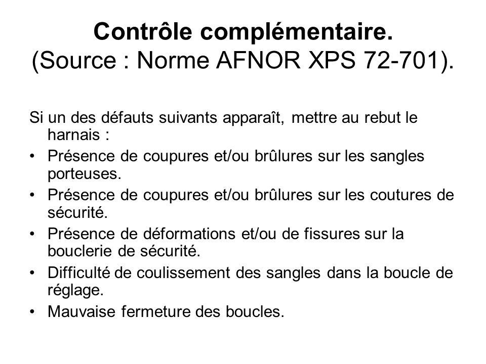 Contrôle complémentaire. (Source : Norme AFNOR XPS 72-701). Si un des défauts suivants apparaît, mettre au rebut le harnais : Présence de coupures et/