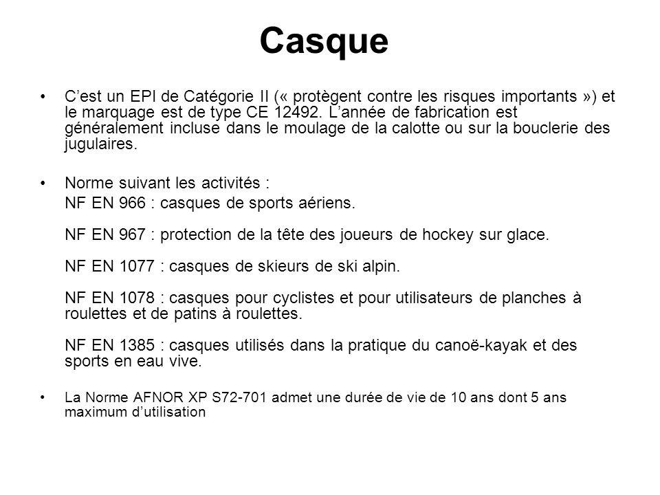 Casque Cest un EPI de Catégorie II (« protègent contre les risques importants ») et le marquage est de type CE 12492. Lannée de fabrication est généra