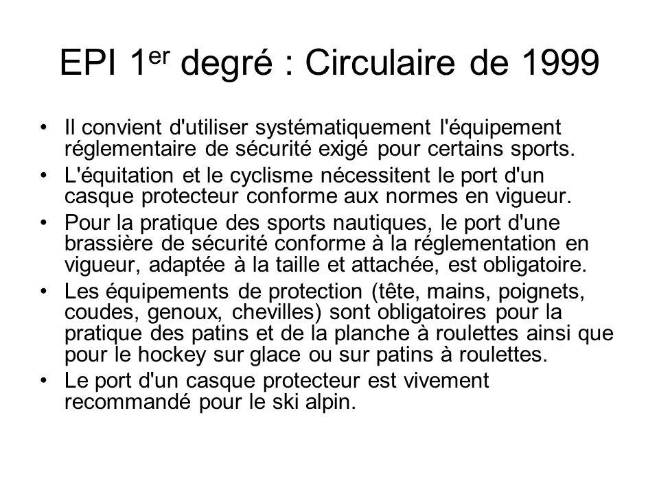 EPI 1 er degré : Circulaire de 1999 Il convient d'utiliser systématiquement l'équipement réglementaire de sécurité exigé pour certains sports. L'équit