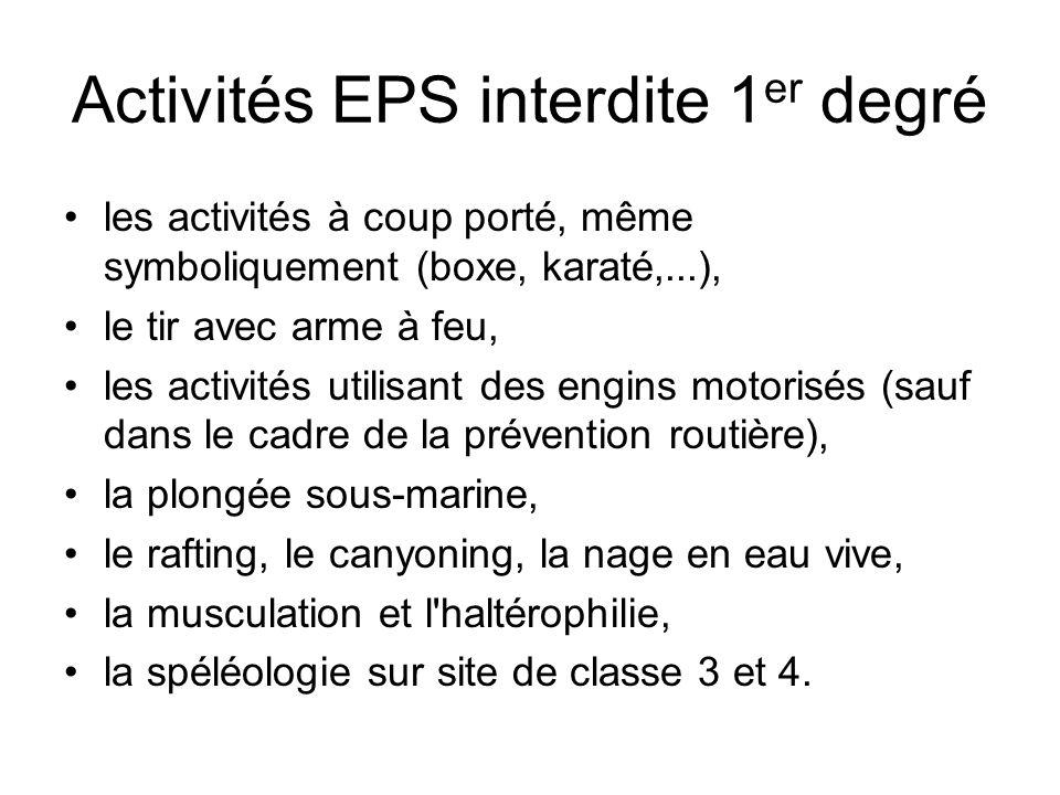 Activités EPS interdite 1 er degré les activités à coup porté, même symboliquement (boxe, karaté,...), le tir avec arme à feu, les activités utilisant