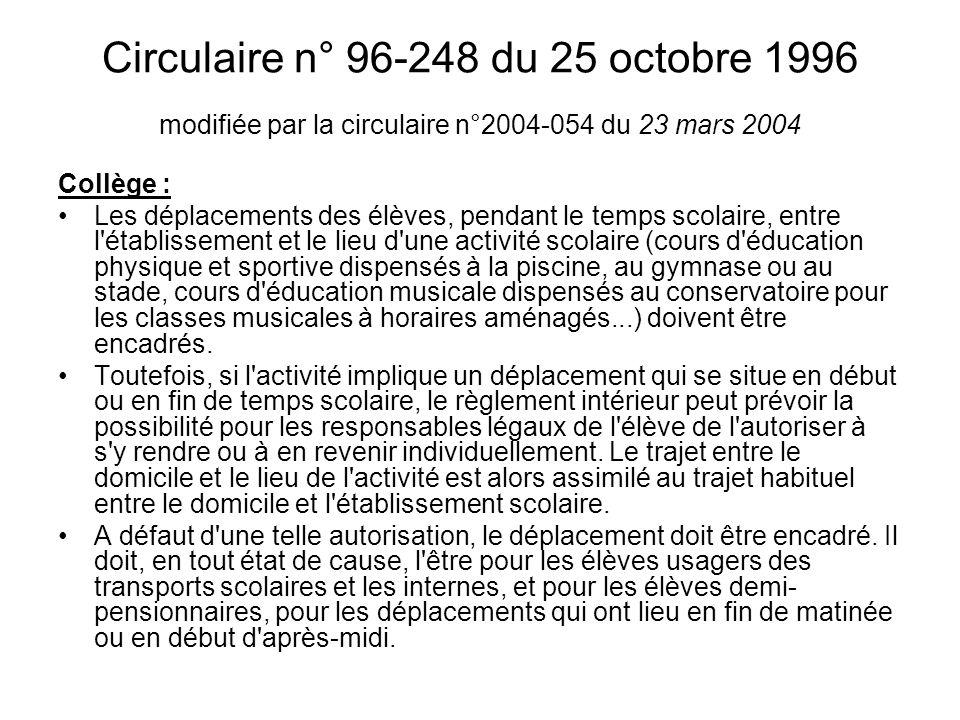 Circulaire n° 96-248 du 25 octobre 1996 modifiée par la circulaire n°2004-054 du 23 mars 2004 Collège : Les déplacements des élèves, pendant le temps