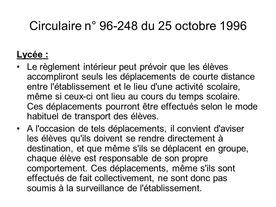 Circulaire n° 96-248 du 25 octobre 1996 Lycée : Le règlement intérieur peut prévoir que les élèves accompliront seuls les déplacements de courte dista