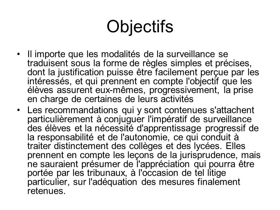 Objectifs Il importe que les modalités de la surveillance se traduisent sous la forme de règles simples et précises, dont la justification puisse être