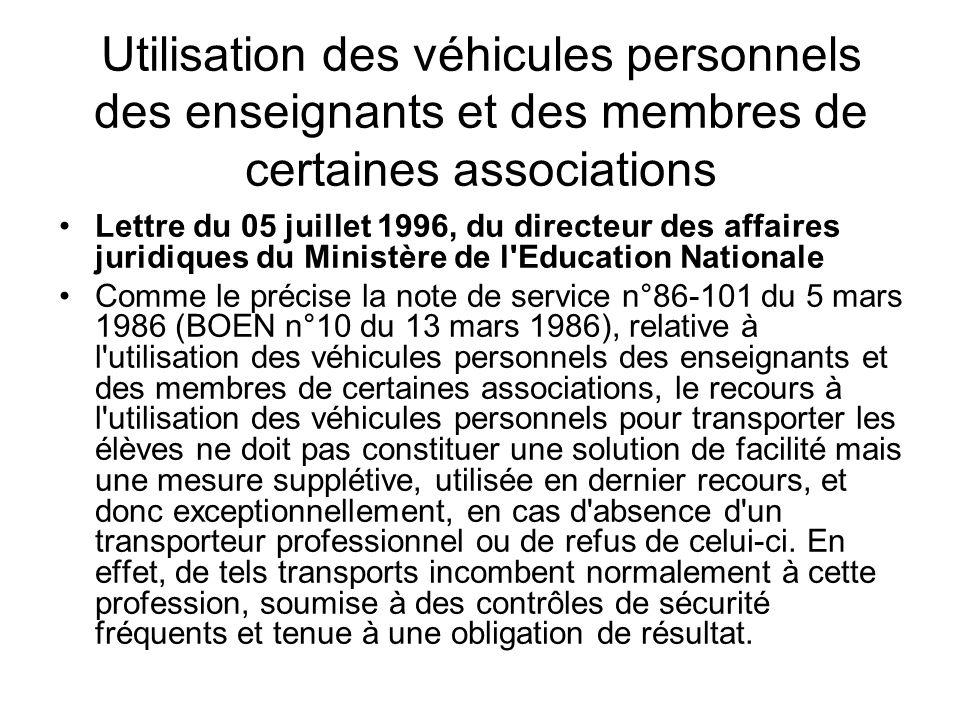 Utilisation des véhicules personnels des enseignants et des membres de certaines associations Lettre du 05 juillet 1996, du directeur des affaires jur
