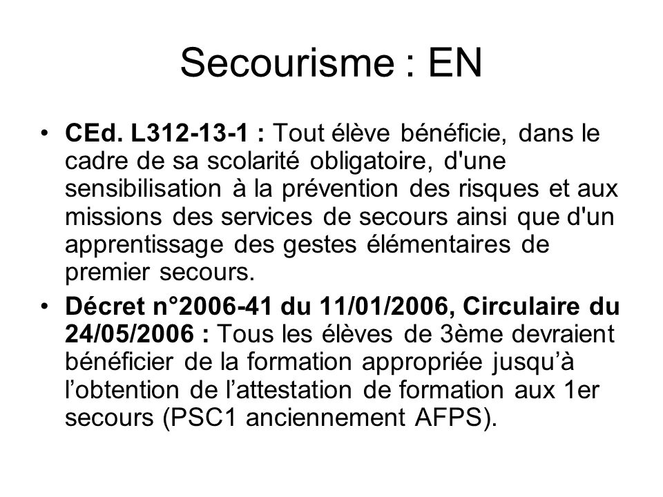 Secourisme : EN CEd.