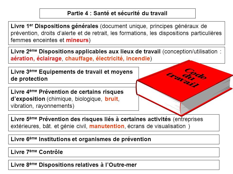 Partie 4 : Santé et sécurité du travail Livre 1 er Dispositions générales (document unique, principes généraux de prévention, droits dalerte et de ret