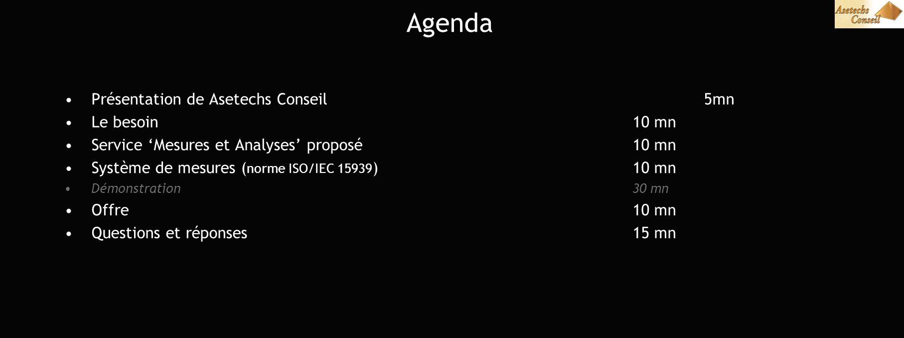 Agenda Présentation de Asetechs Conseil5mn Le besoin 10 mn Service Mesures et Analyses proposé10 mn Système de mesures ( norme ISO/IEC 15939 )10 mn Démonstration30 mn Offre 10 mn Questions et réponses15 mn