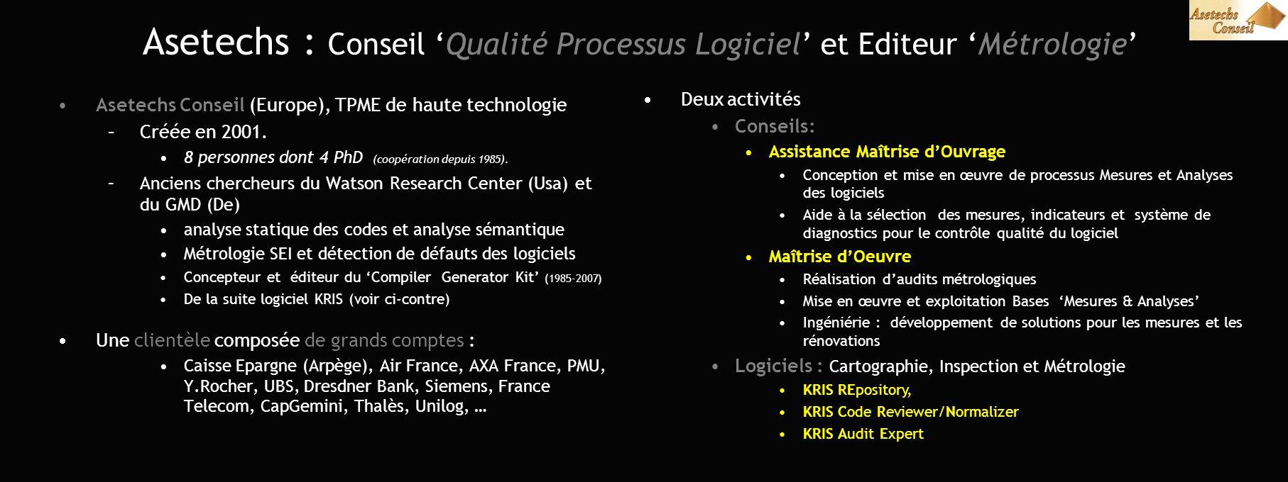 Asetechs : Conseil Qualité Processus Logiciel et Editeur Métrologie Asetechs Conseil (Europe), TPME de haute technologie –Créée en 2001. 8 personnes d