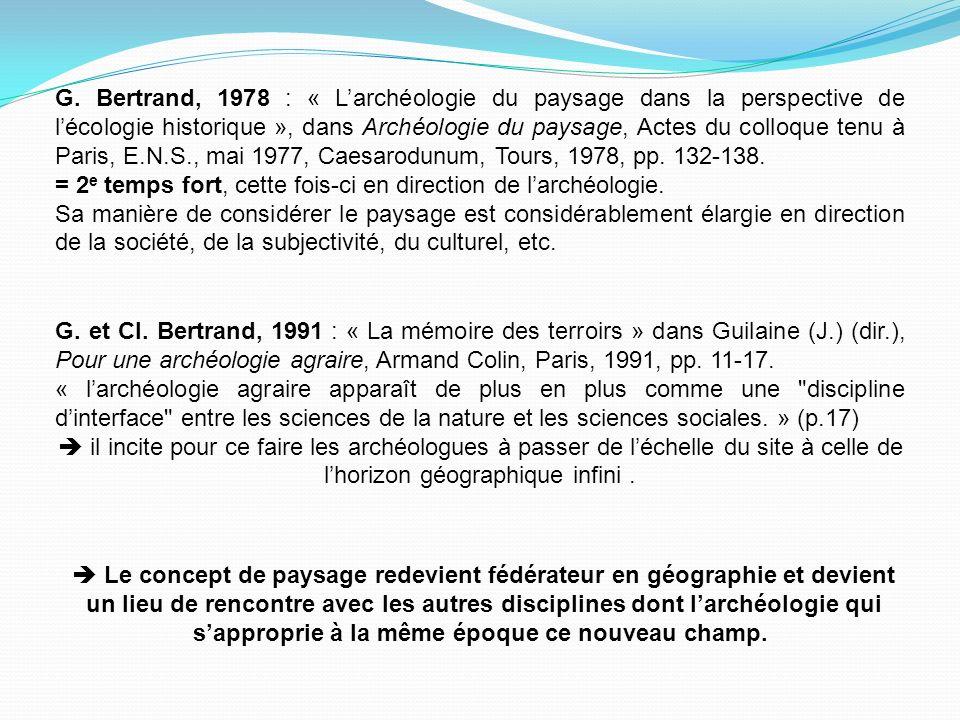 G. Bertrand, 1978 : « Larchéologie du paysage dans la perspective de lécologie historique », dans Archéologie du paysage, Actes du colloque tenu à Par