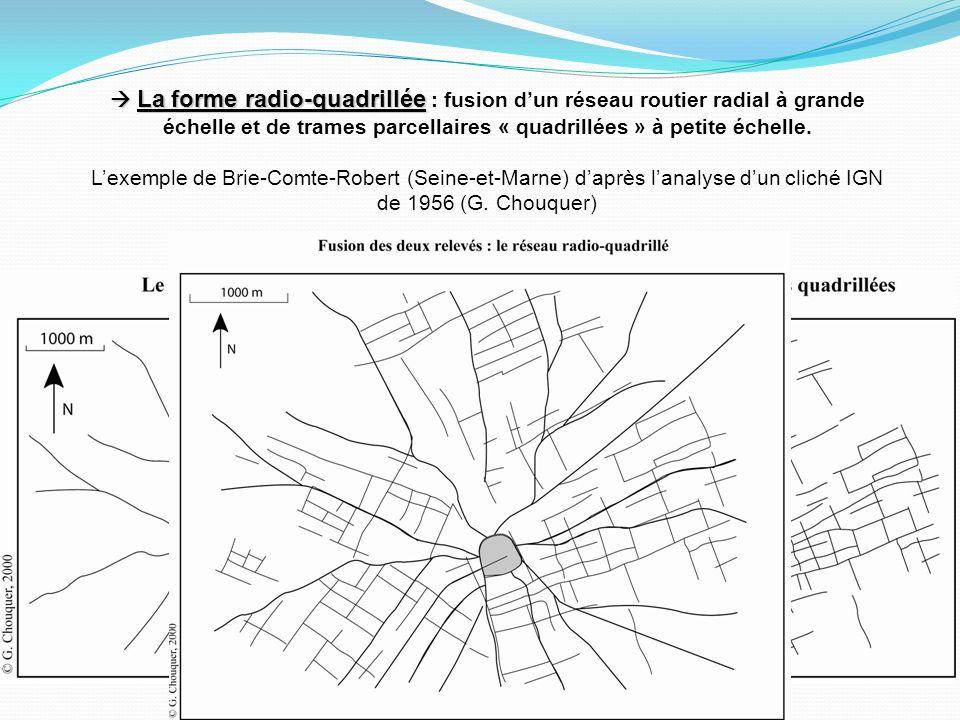 La forme radio-quadrillée La forme radio-quadrillée : fusion dun réseau routier radial à grande échelle et de trames parcellaires « quadrillées » à petite échelle.