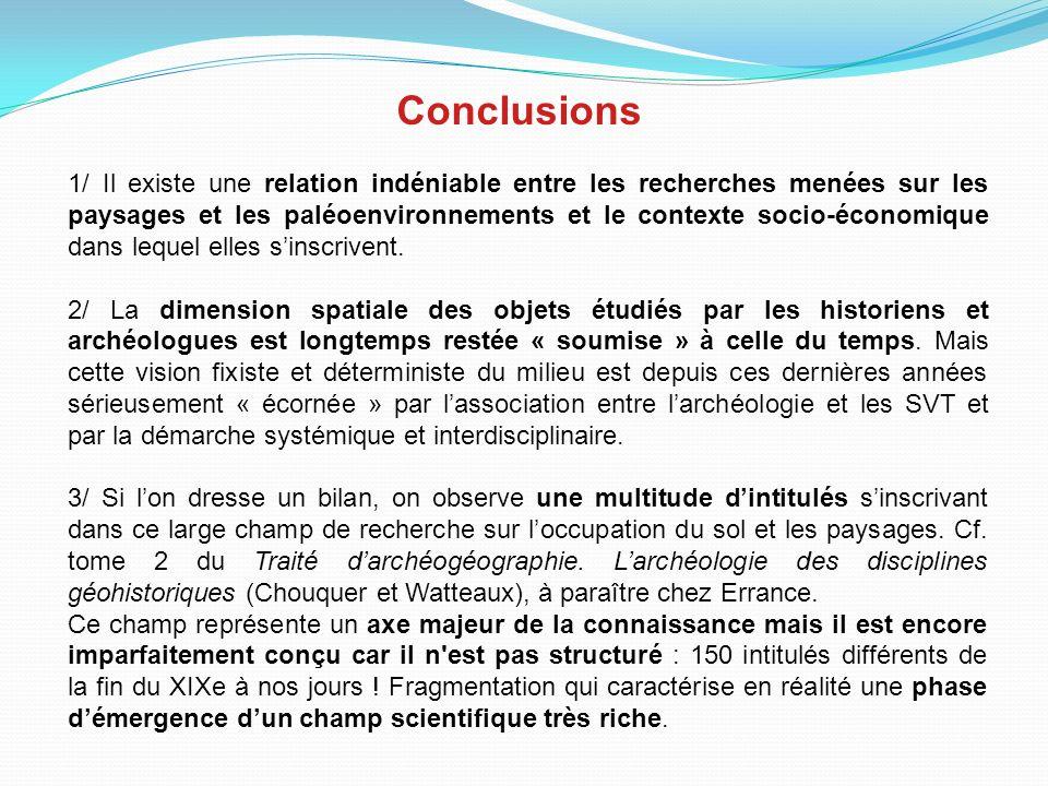 Conclusions 1/ Il existe une relation indéniable entre les recherches menées sur les paysages et les paléoenvironnements et le contexte socio-économique dans lequel elles sinscrivent.