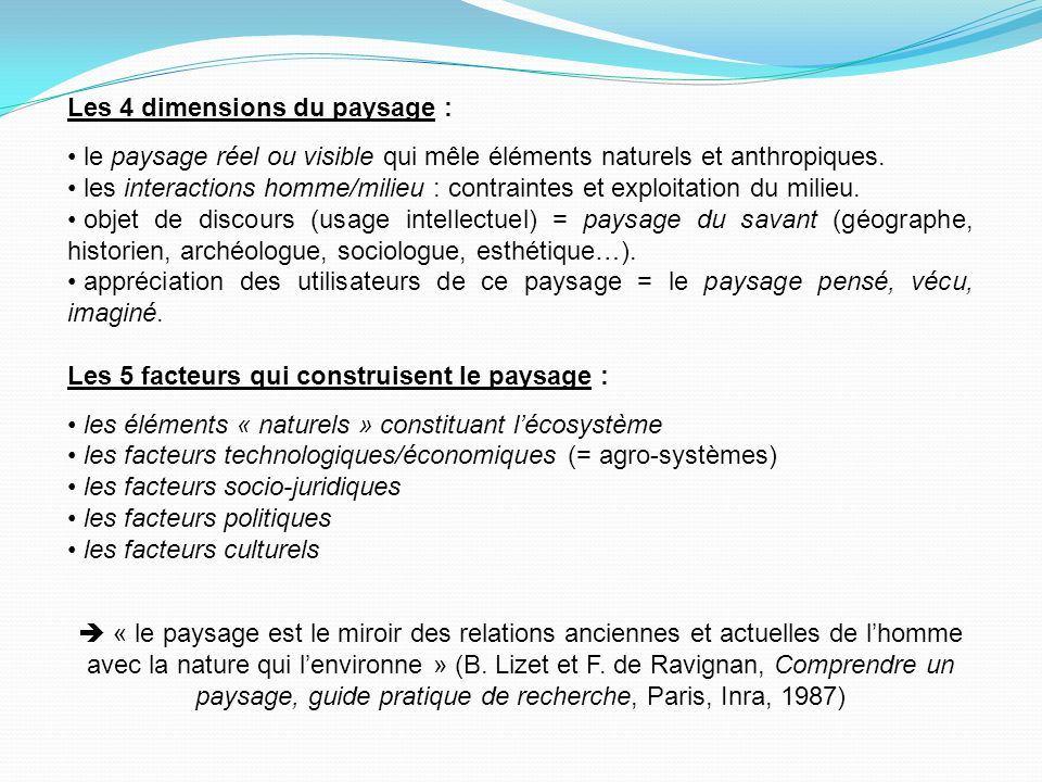 Les 4 dimensions du paysage : le paysage réel ou visible qui mêle éléments naturels et anthropiques.