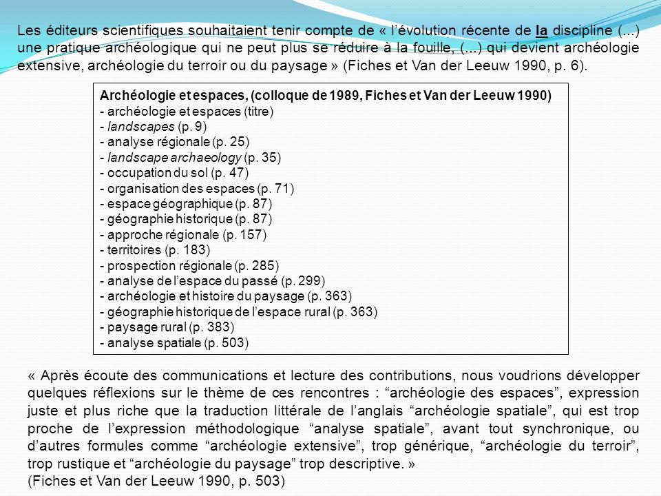 Archéologie et espaces, (colloque de 1989, Fiches et Van der Leeuw 1990) - archéologie et espaces (titre) - landscapes (p.