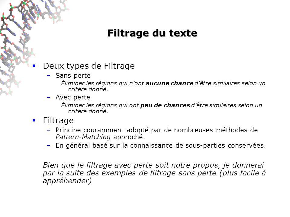 Filtrage du texte Deux types de Filtrage –Sans perte Éliminer les régions qui nont aucune chance dêtre similaires selon un critère donné.