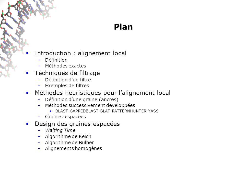 Plan Introduction : alignement local –Définition –Méthodes exactes Techniques de filtrage –Définition dun filtre –Exemples de filtres Méthodes heuristiques pour lalignement local –Définition dune graine (ancres) –Méthodes successivement développées BLAST-GAPPEDBLAST-BLAT-PATTERNHUNTER-YASS –Graines-espacées Design des graines espacées –Waiting Time –Algorithme de Keich –Algorithme de Bulher –Alignements homogènes