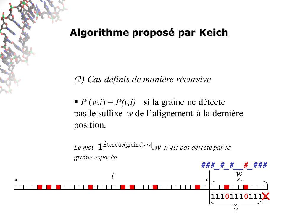 Algorithme proposé par Keich (2) Cas définis de manière récursive P (w,i) = P(v,i) si la graine ne détecte pas le suffixe w de lalignement à la dernière position.