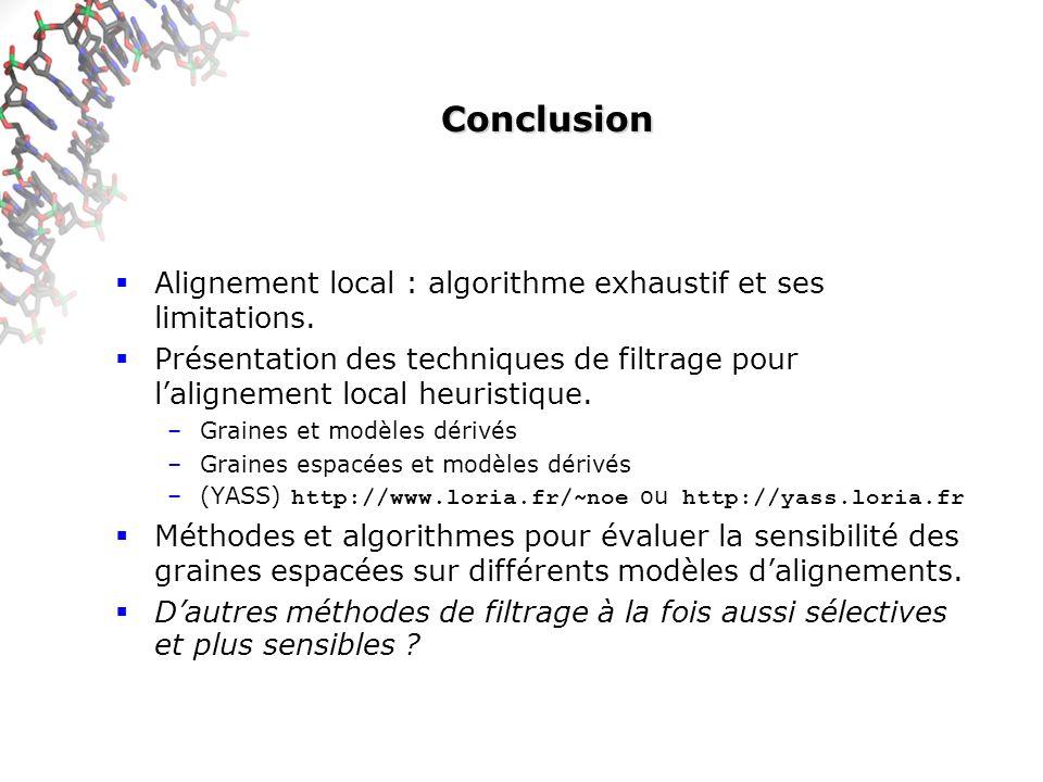 Conclusion Alignement local : algorithme exhaustif et ses limitations.