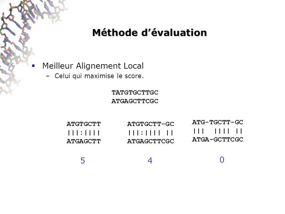 Méthode dévaluation Meilleur Alignement Local –Celui qui maximise le score.