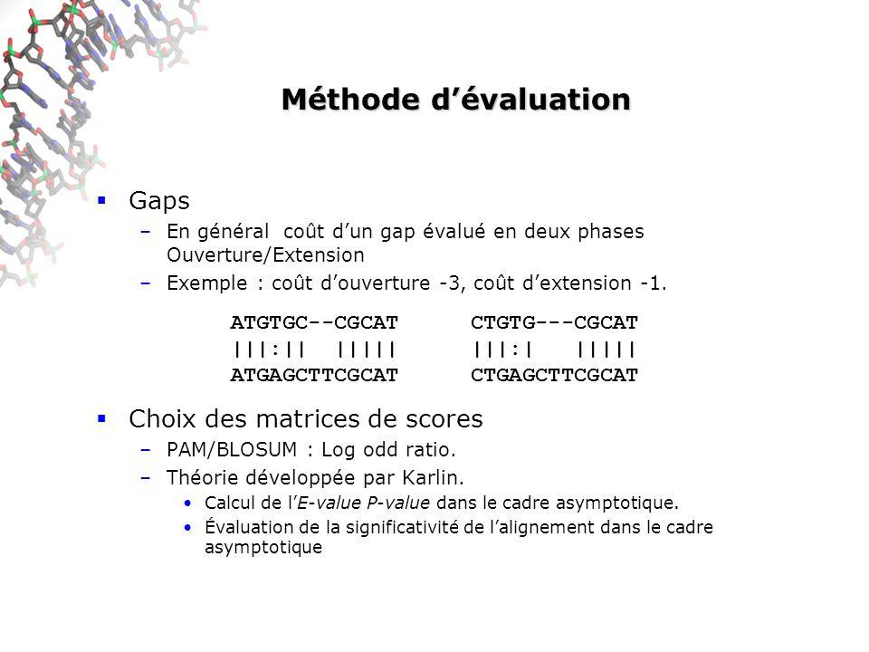 Méthode dévaluation Gaps –En général coût dun gap évalué en deux phases Ouverture/Extension –Exemple : coût douverture -3, coût dextension -1.