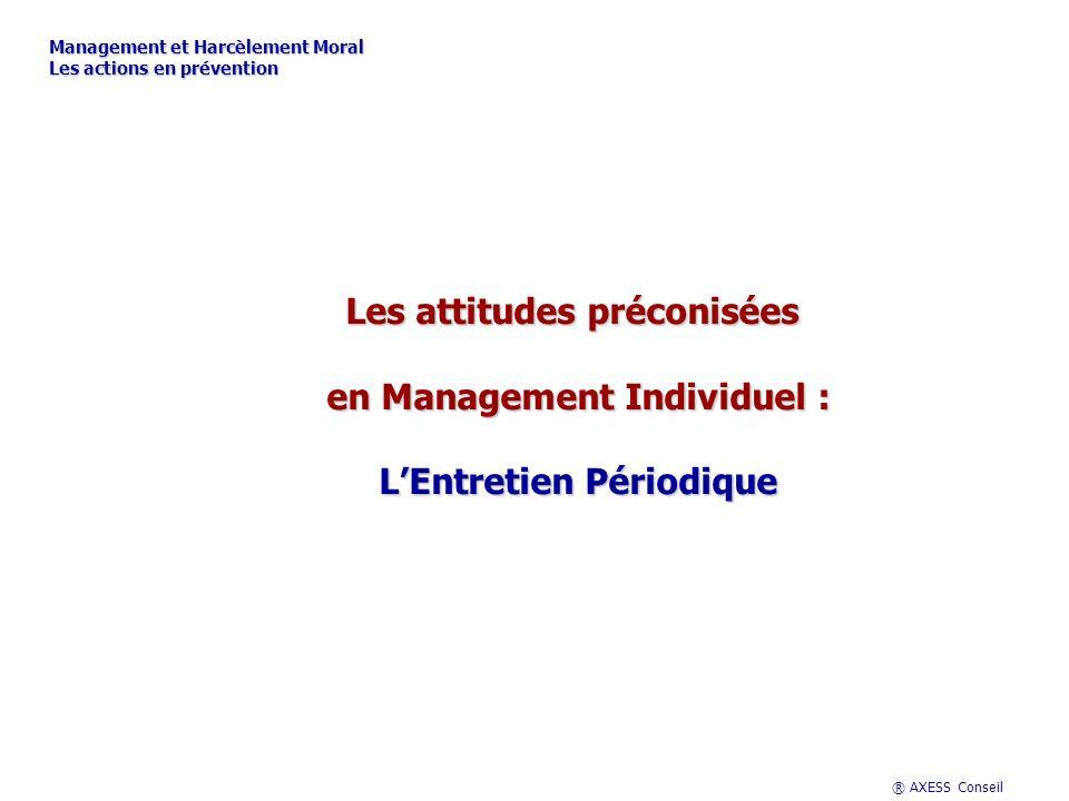 ® AXESS Conseil Les attitudes préconisées en Management Individuel : LEntretien Périodique Management et Harcèlement Moral Les actions en prévention
