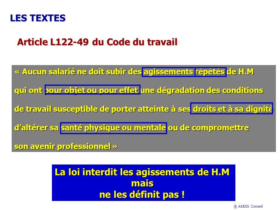 ® AXESS Conseil Lalchimie à lorigine des situations de H.M Le contexte de la relation La victime présumée Le harceleur présumé