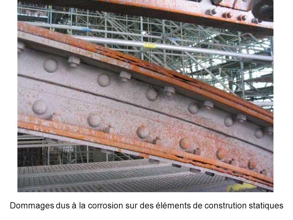 Dommages dus à la corrosion sur des éléments de constrution statiques